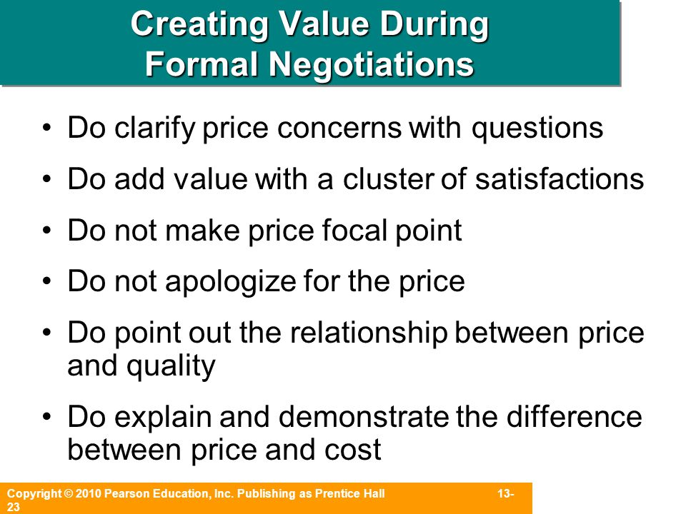 Creating Value During Formal Negotiations