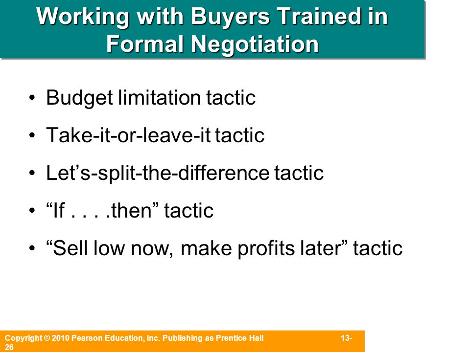 Working with Buyers Trained in Formal Negotiation