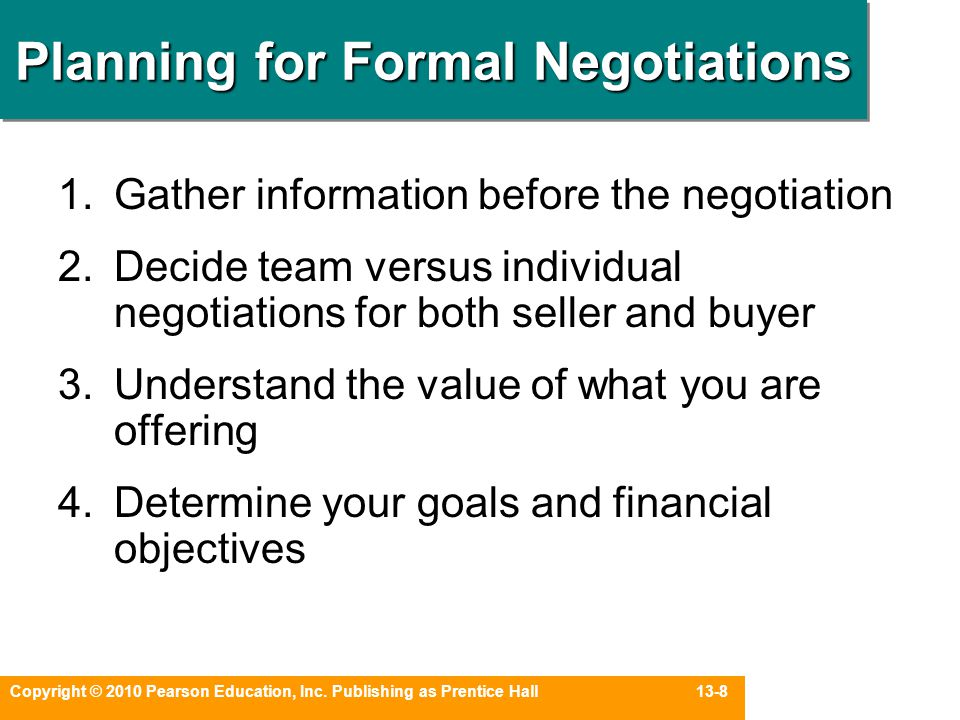 Planning for Formal Negotiations