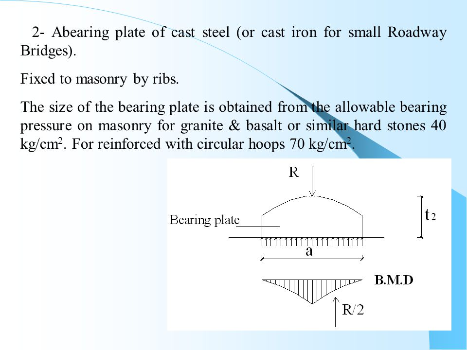 2- Abearing plate of cast steel (or cast iron for small Roadway Bridges).