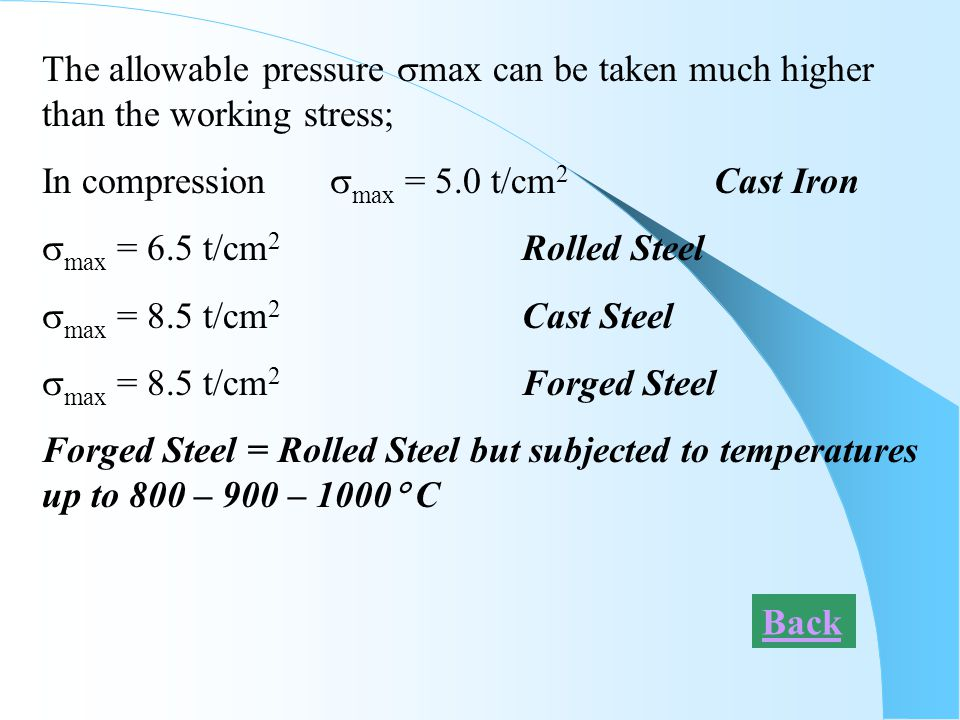 The allowable pressure max can be taken much higher than the working stress;