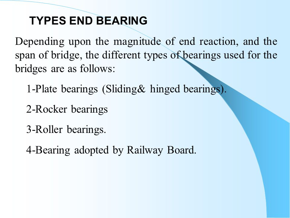 TYPES END BEARING
