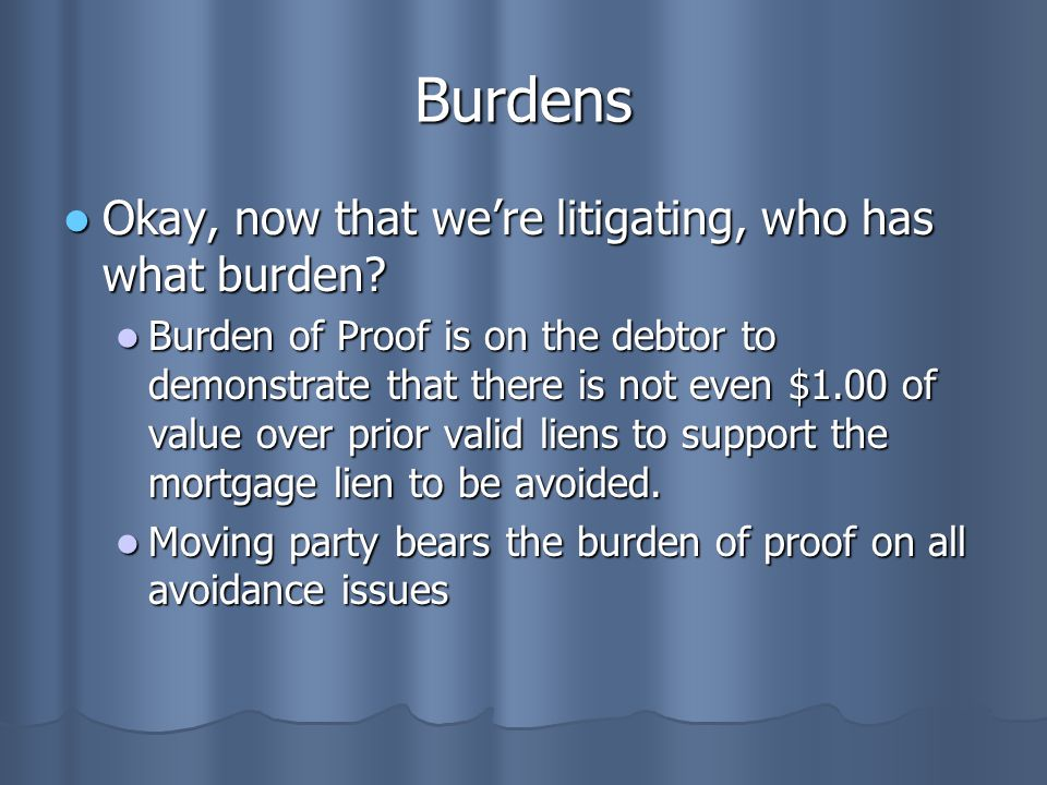 Burdens Okay, now that we're litigating, who has what burden