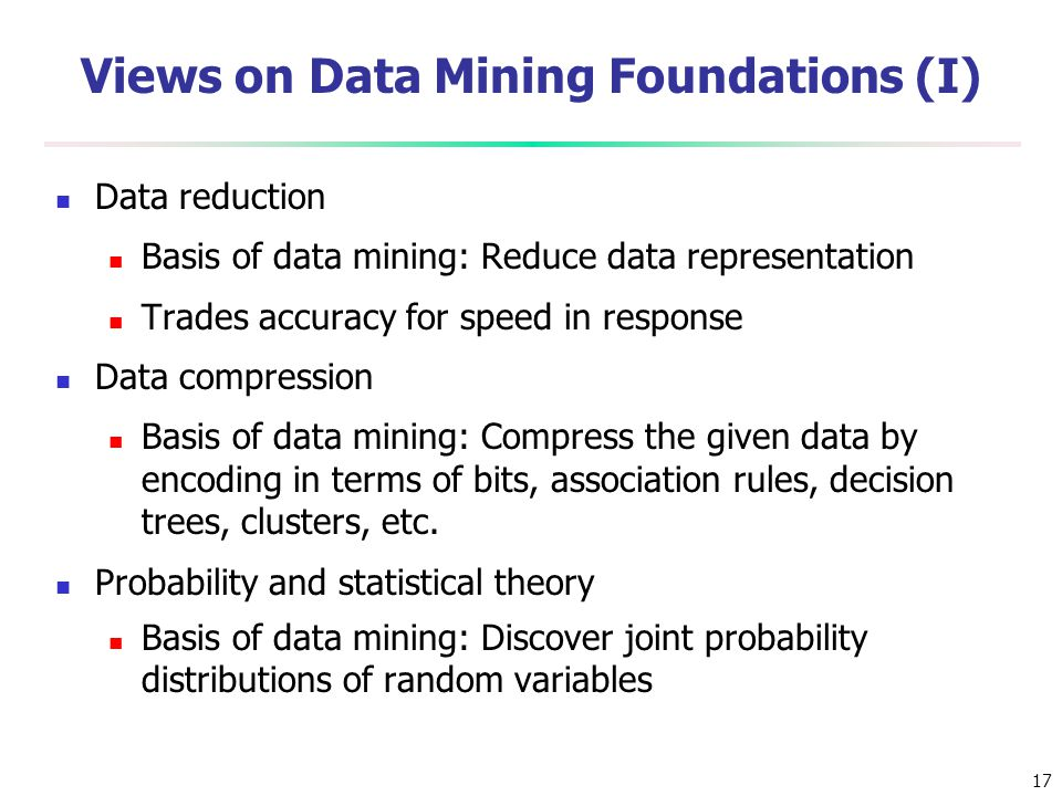 Views on Data Mining Foundations (I)