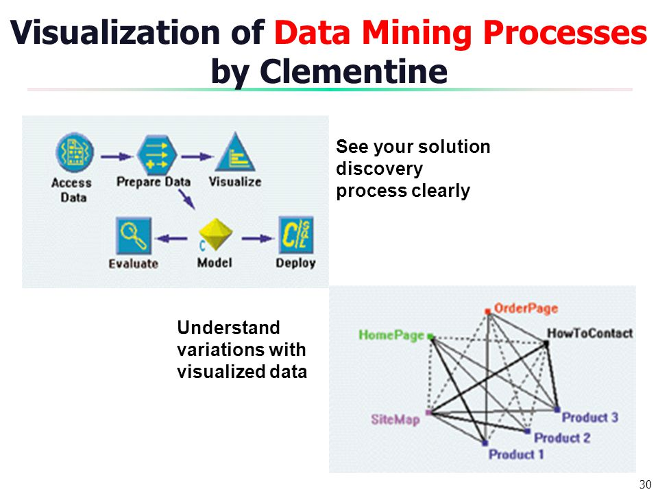 Visualization of Data Mining Processes by Clementine