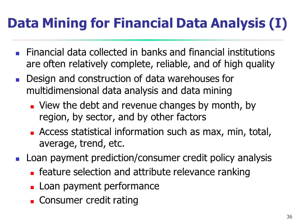 Data Mining for Financial Data Analysis (I)