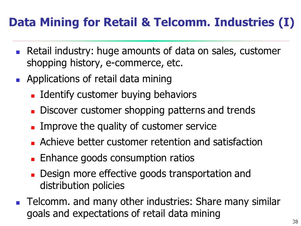 Data Mining for Retail & Telcomm. Industries (I)