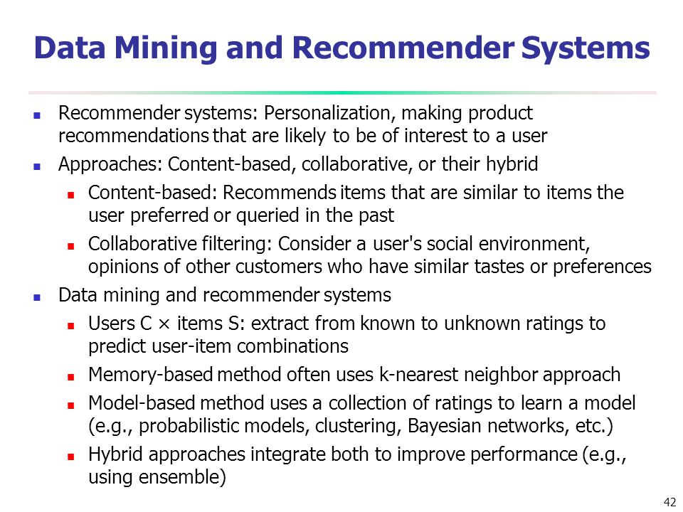 Data Mining and Recommender Systems
