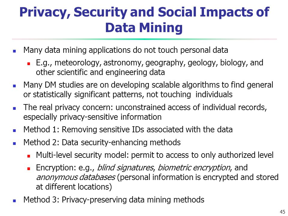 Privacy, Security and Social Impacts of Data Mining