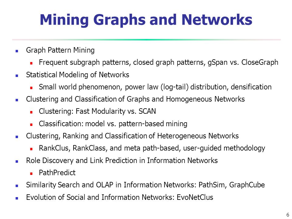 Mining Graphs and Networks