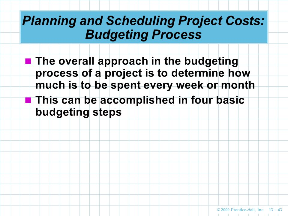 Planning and Scheduling Project Costs: Budgeting Process