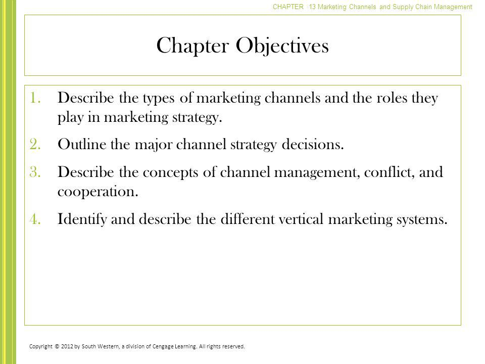 Chapter Objectives Describe the types of marketing channels and the roles they play in marketing strategy.