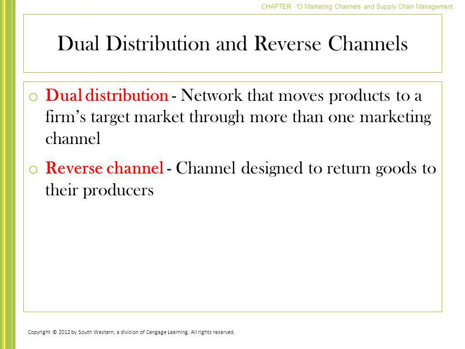 Dual Distribution and Reverse Channels
