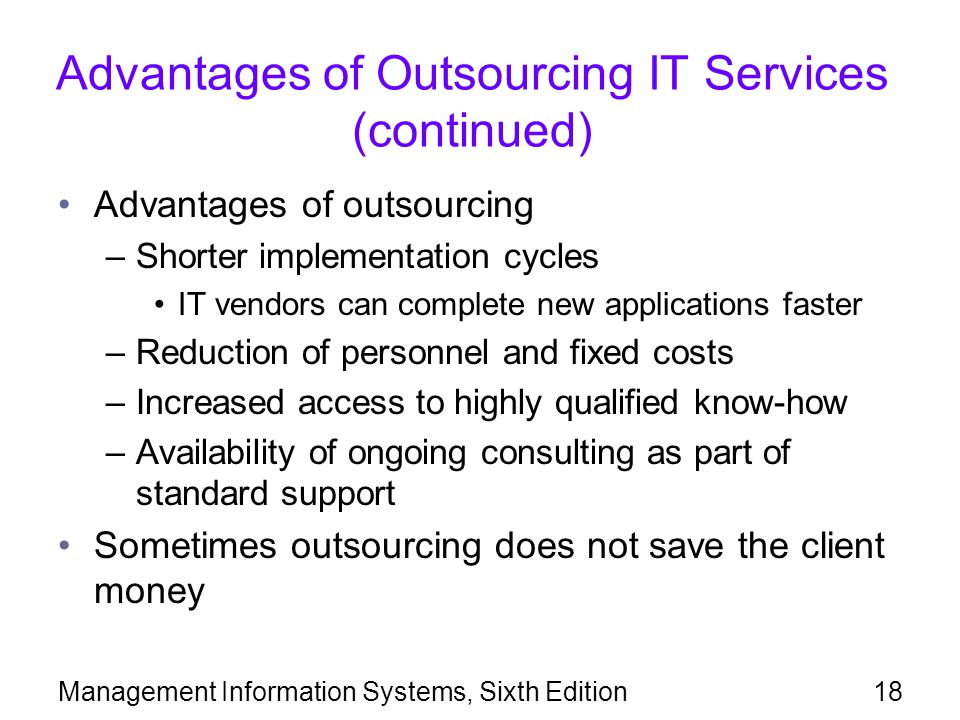 Advantages of Outsourcing IT Services (continued)