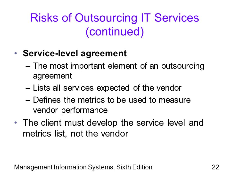 Risks of Outsourcing IT Services (continued)