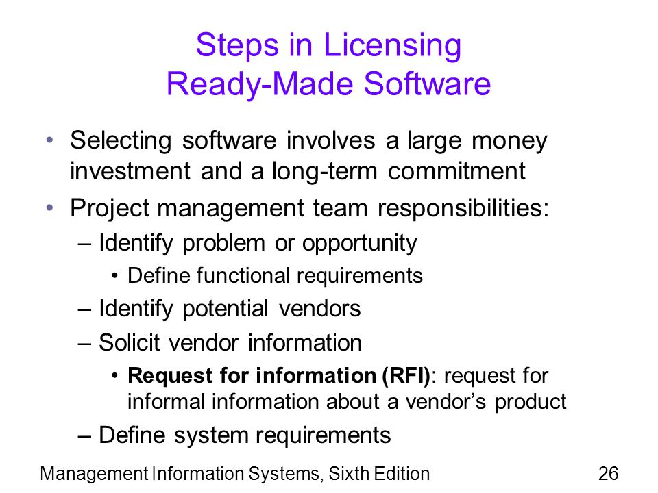 Steps in Licensing Ready-Made Software