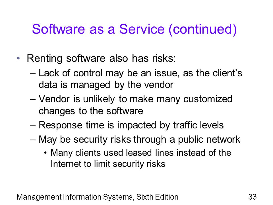 Software as a Service (continued)