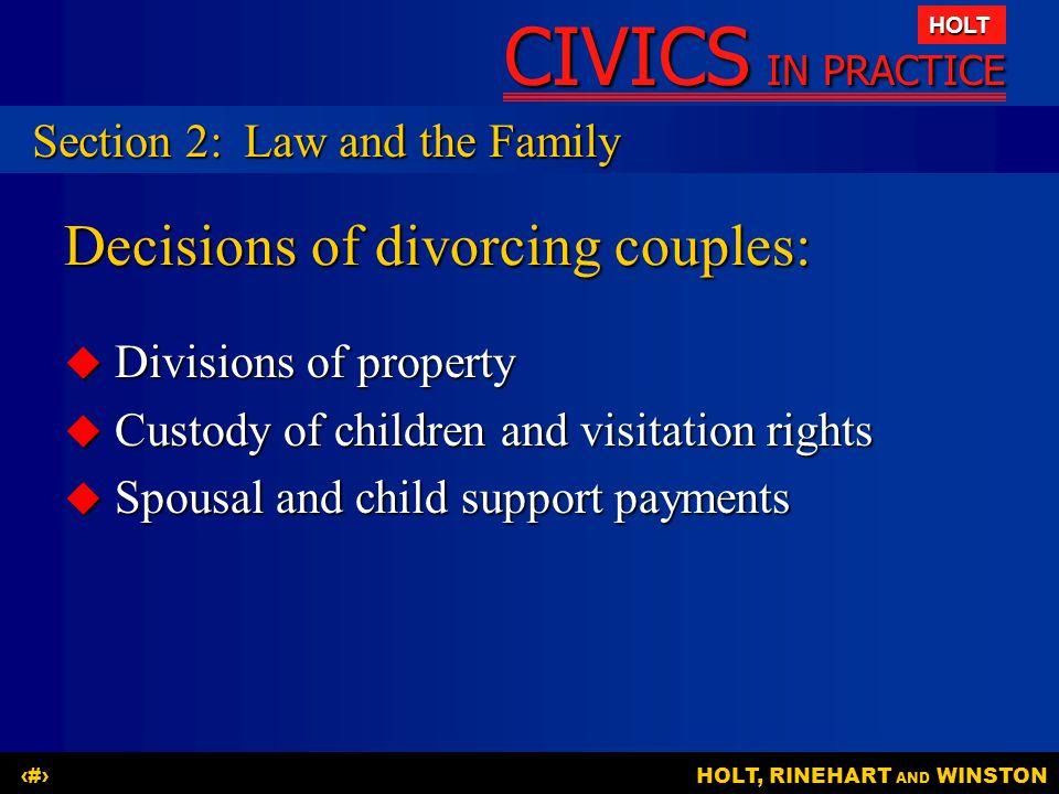 Decisions of divorcing couples: