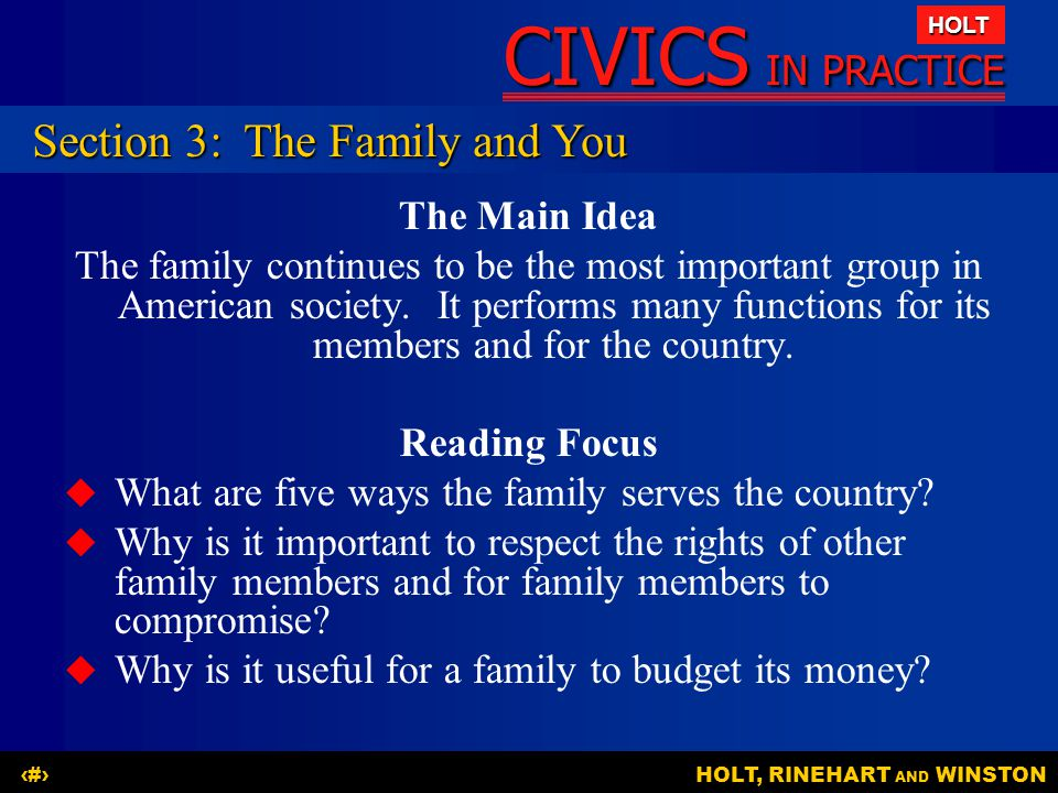 Section 3: The Family and You