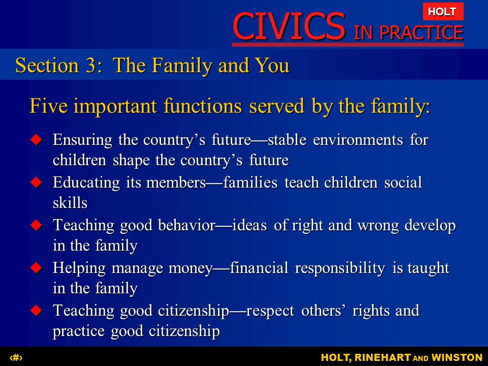 Five important functions served by the family: