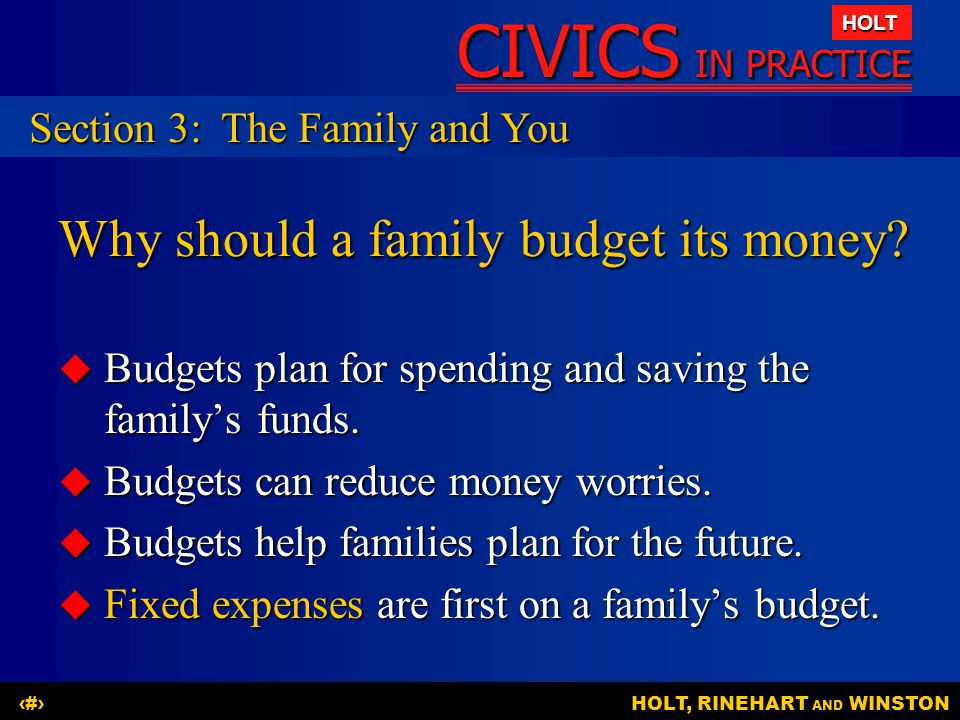 Why should a family budget its money