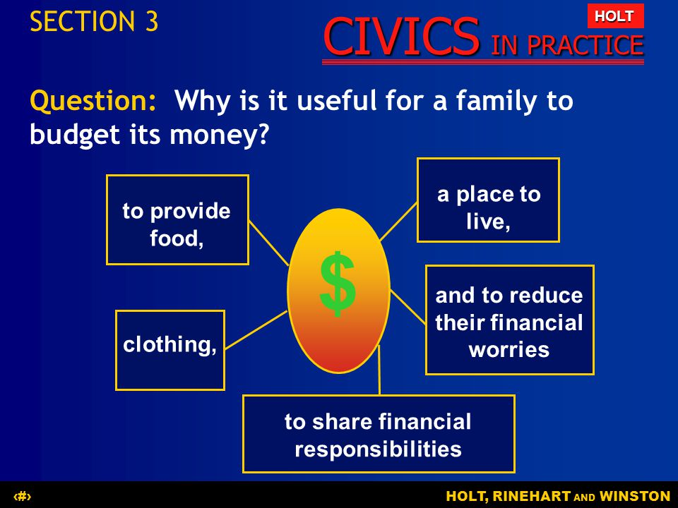 SECTION 3 Question: Why is it useful for a family to budget its money a place to live, to provide food,