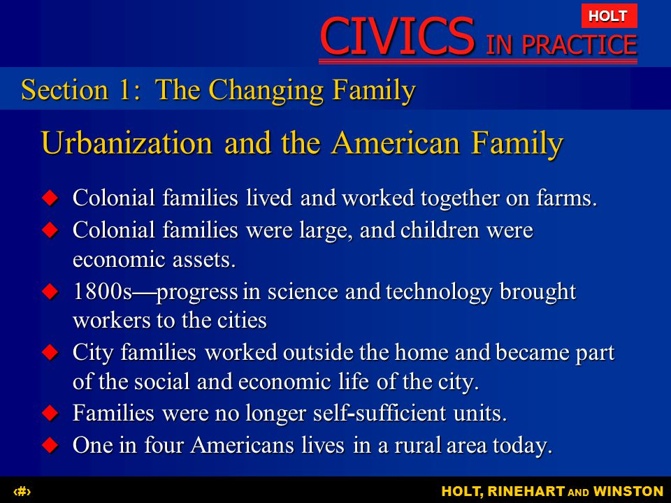Urbanization and the American Family
