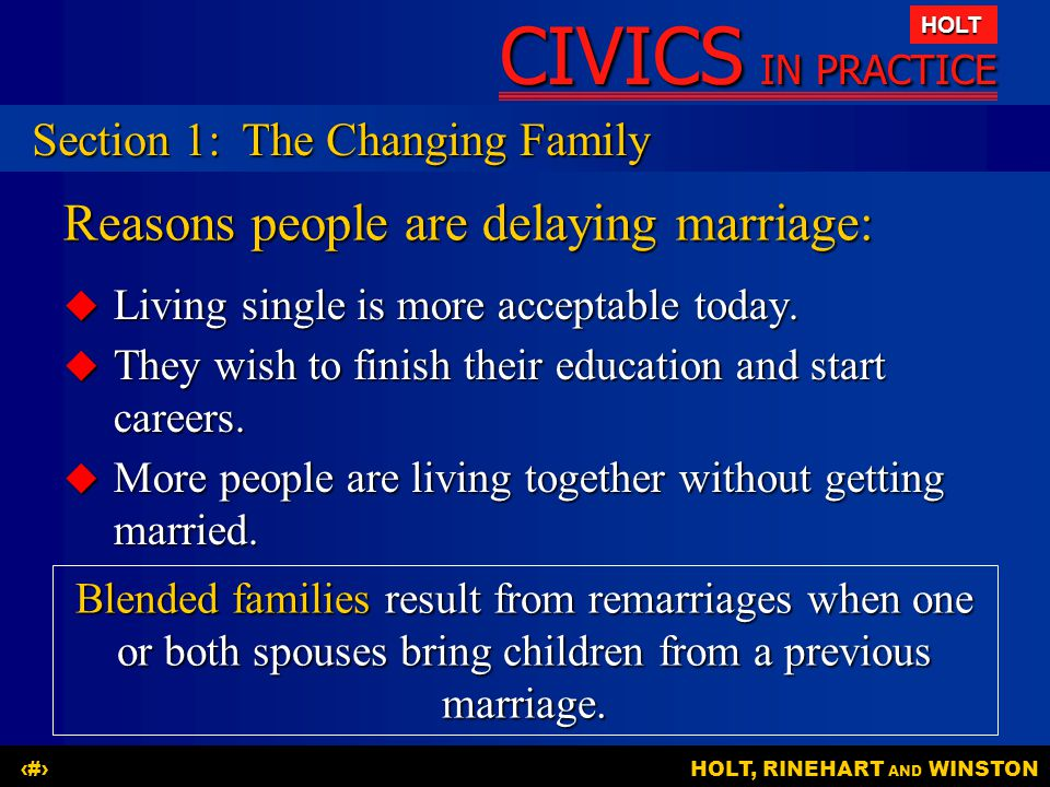 Reasons people are delaying marriage: