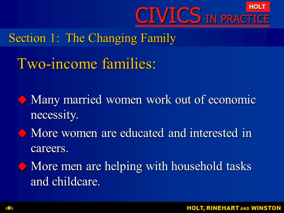 Two-income families: Section 1: The Changing Family