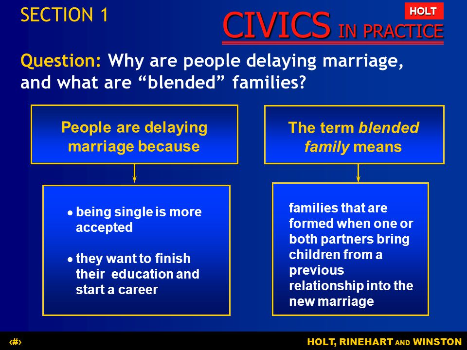 People are delaying marriage because The term blended family means