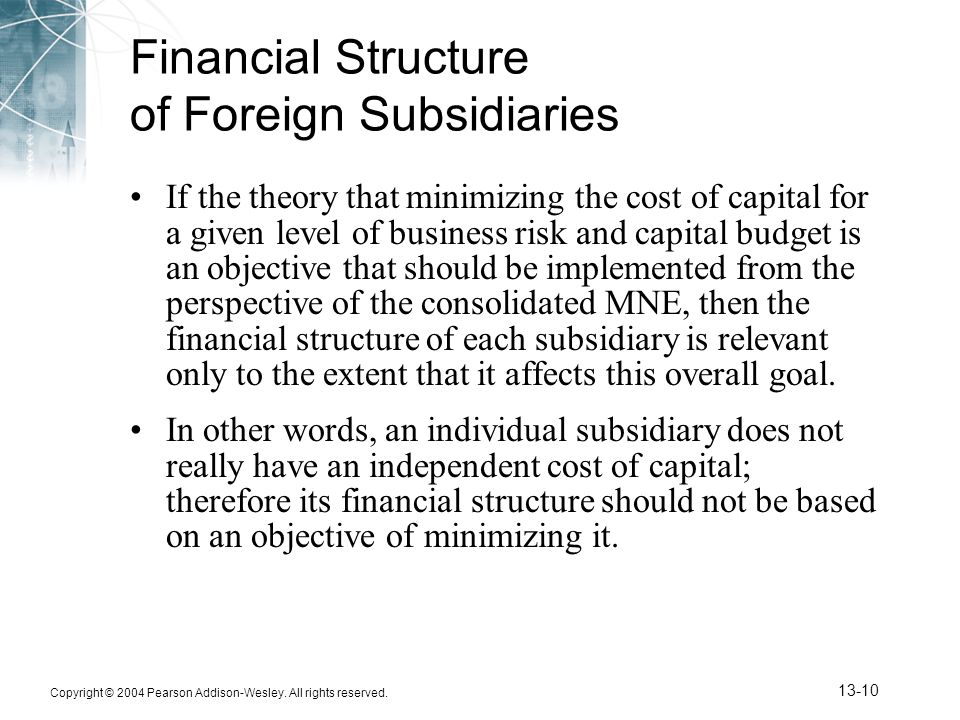 Financial Structure of Foreign Subsidiaries