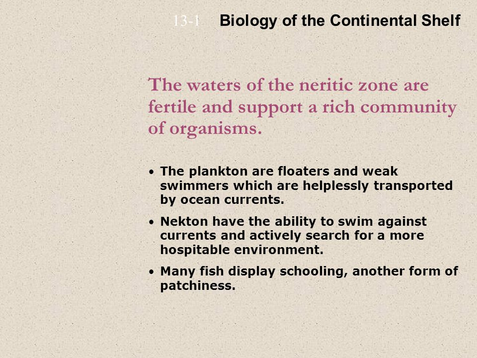 13-1 Biology of the Continental Shelf. The waters of the neritic zone are fertile and support a rich community of organisms.