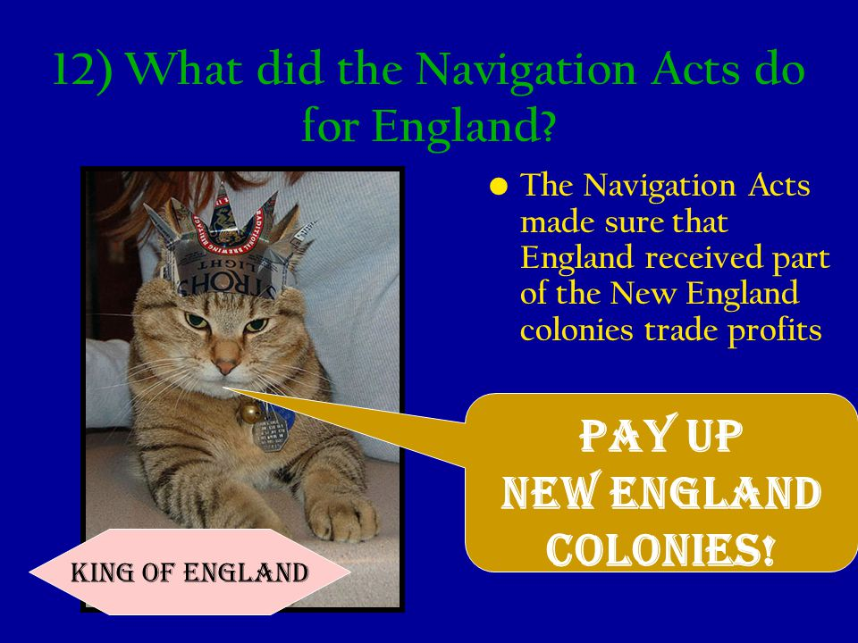 12) What did the Navigation Acts do for England