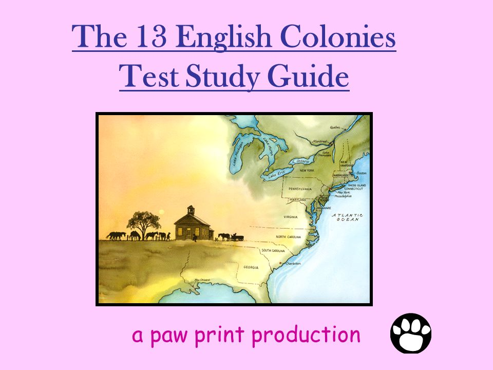 The 13 English Colonies Test Study Guide