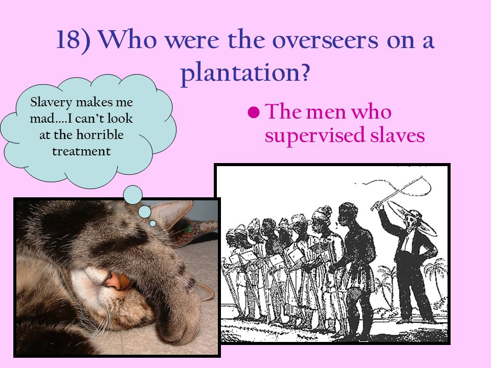 18) Who were the overseers on a plantation
