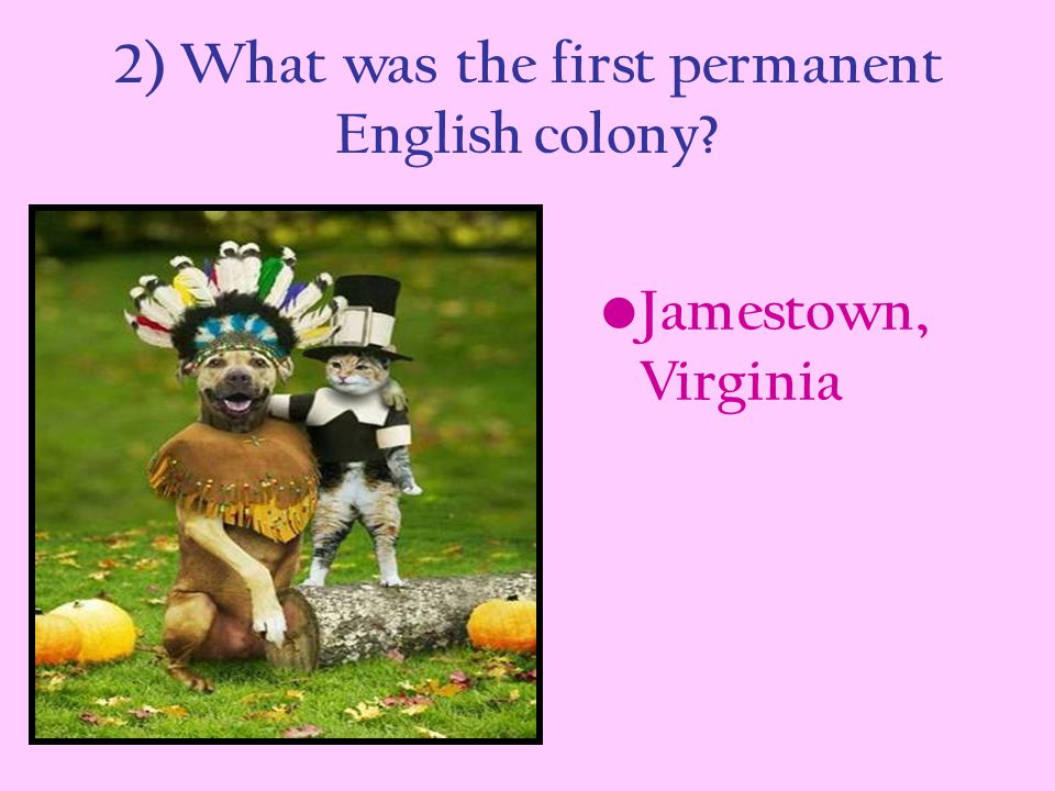 2) What was the first permanent English colony