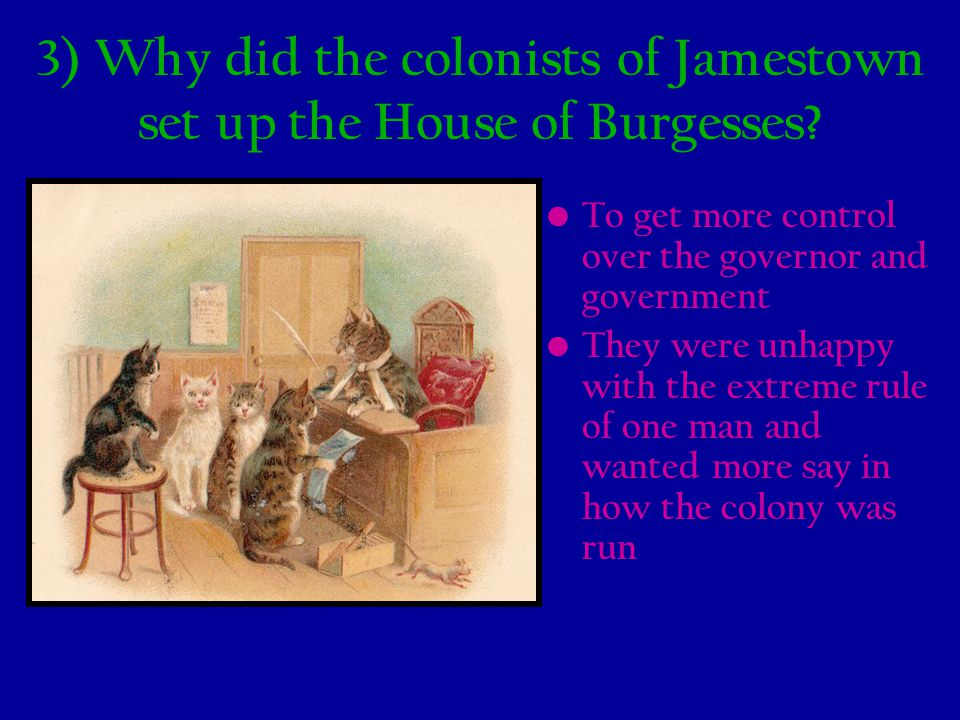3) Why did the colonists of Jamestown set up the House of Burgesses