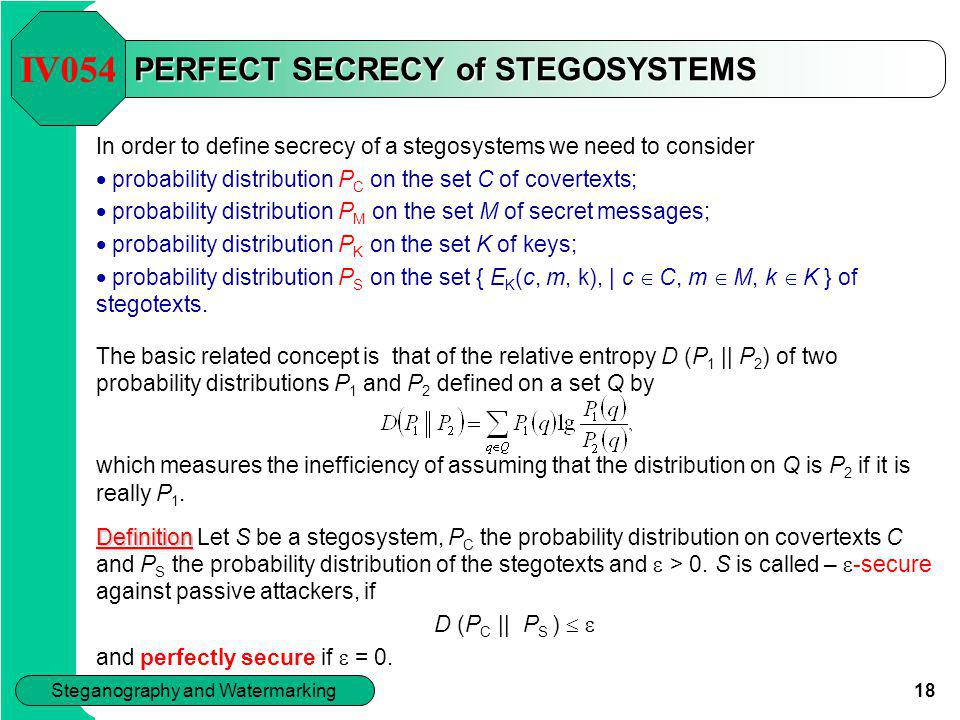 PERFECT SECRECY of STEGOSYSTEMS