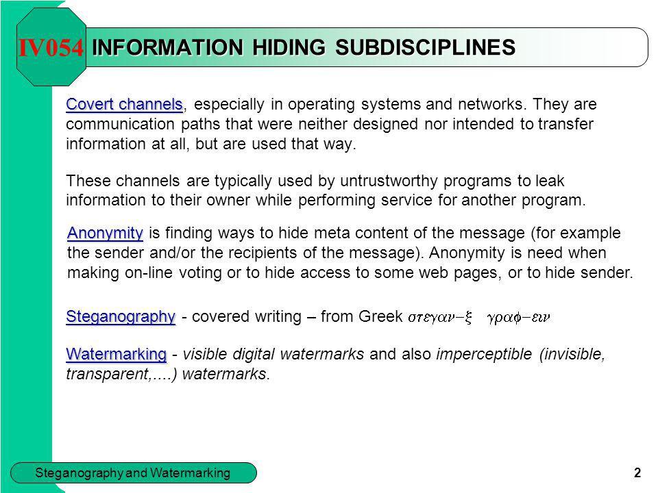 INFORMATION HIDING SUBDISCIPLINES