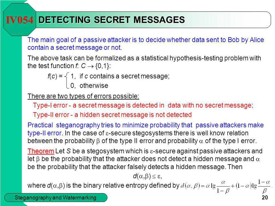 DETECTING SECRET MESSAGES