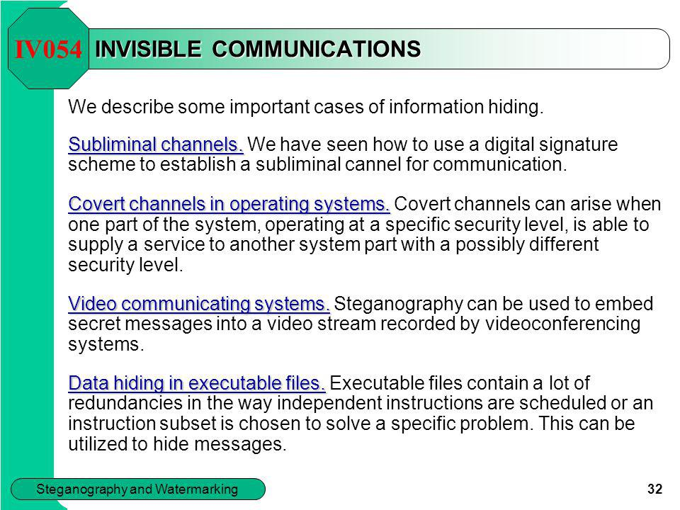 INVISIBLE COMMUNICATIONS