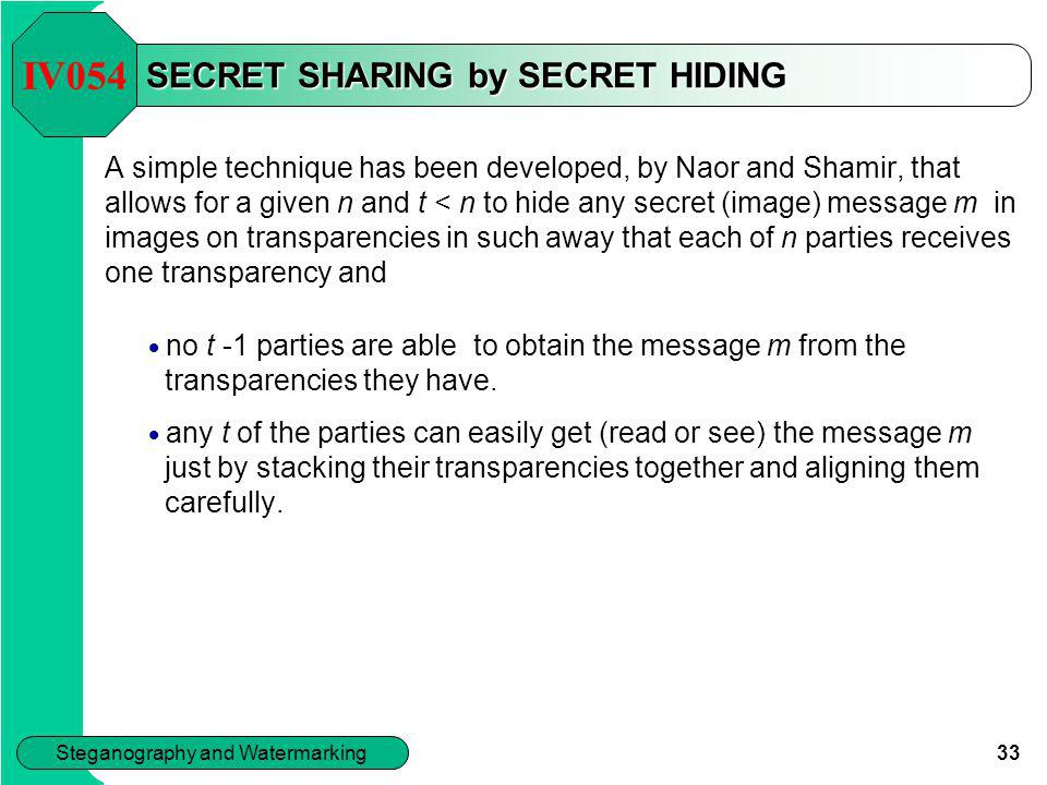 SECRET SHARING by SECRET HIDING