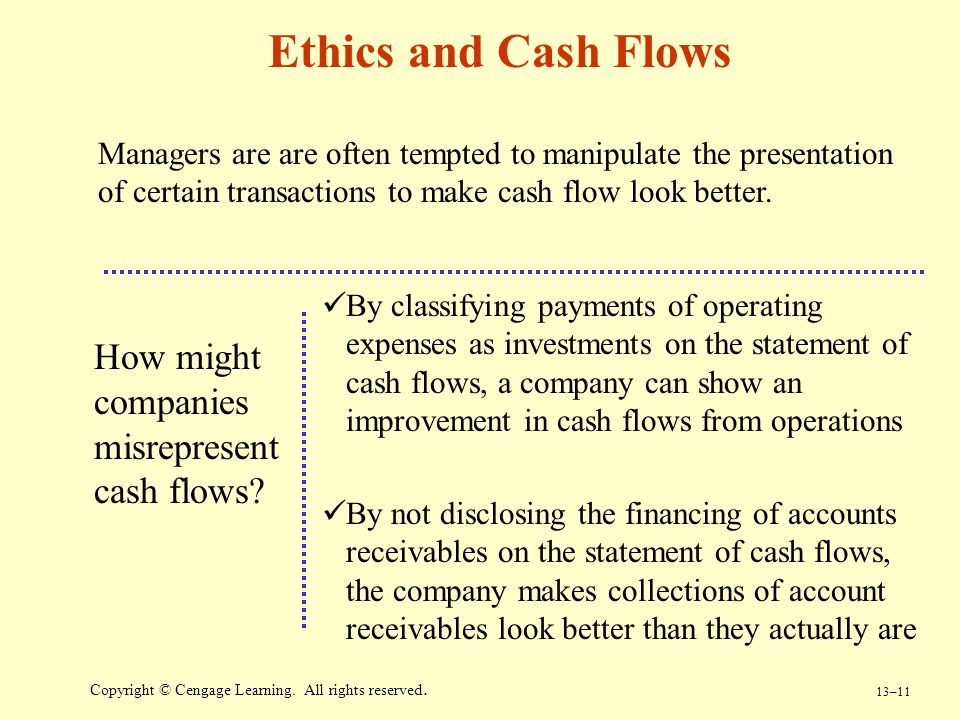 Ethics and Cash Flows How might companies misrepresent cash flows