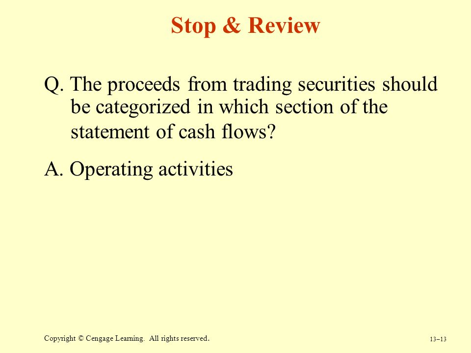 Stop & Review Q. The proceeds from trading securities should be categorized in which section of the statement of cash flows