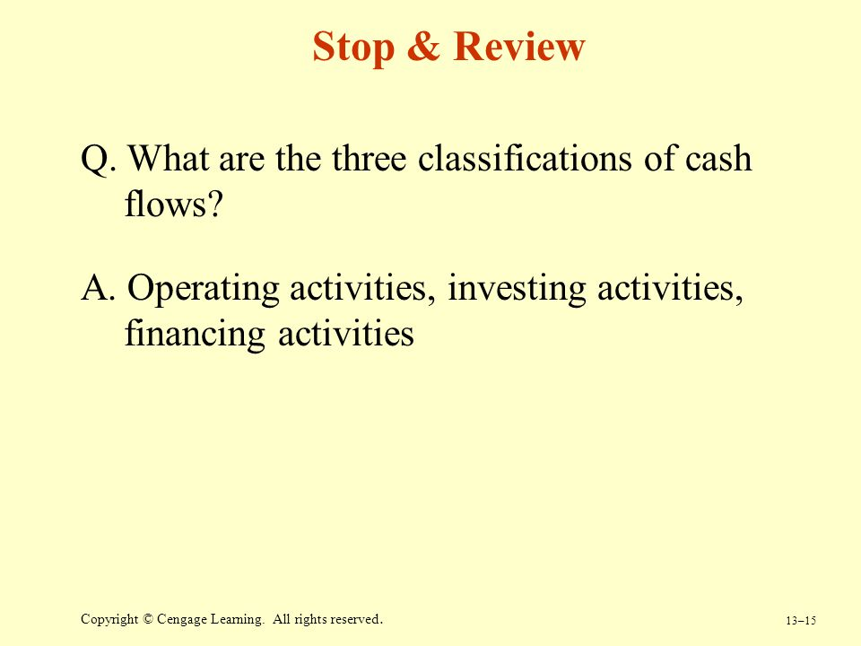 Stop & Review Q. What are the three classifications of cash flows