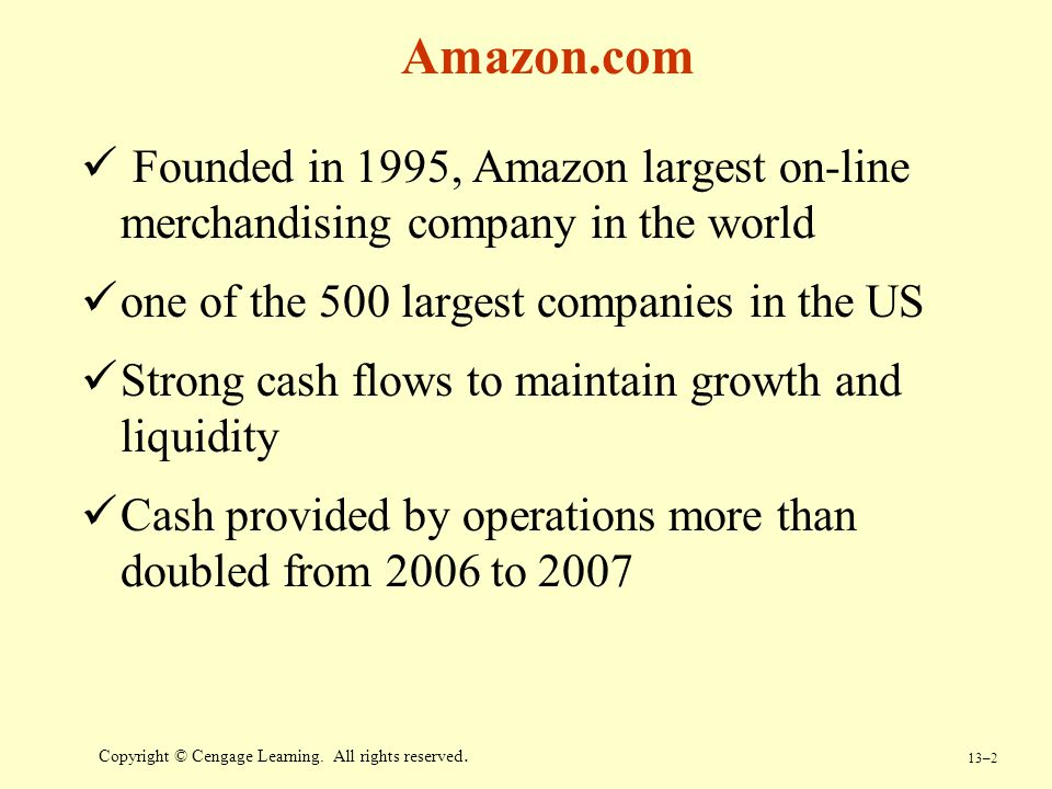 Amazon.com Founded in 1995, Amazon largest on-line merchandising company in the world. one of the 500 largest companies in the US.