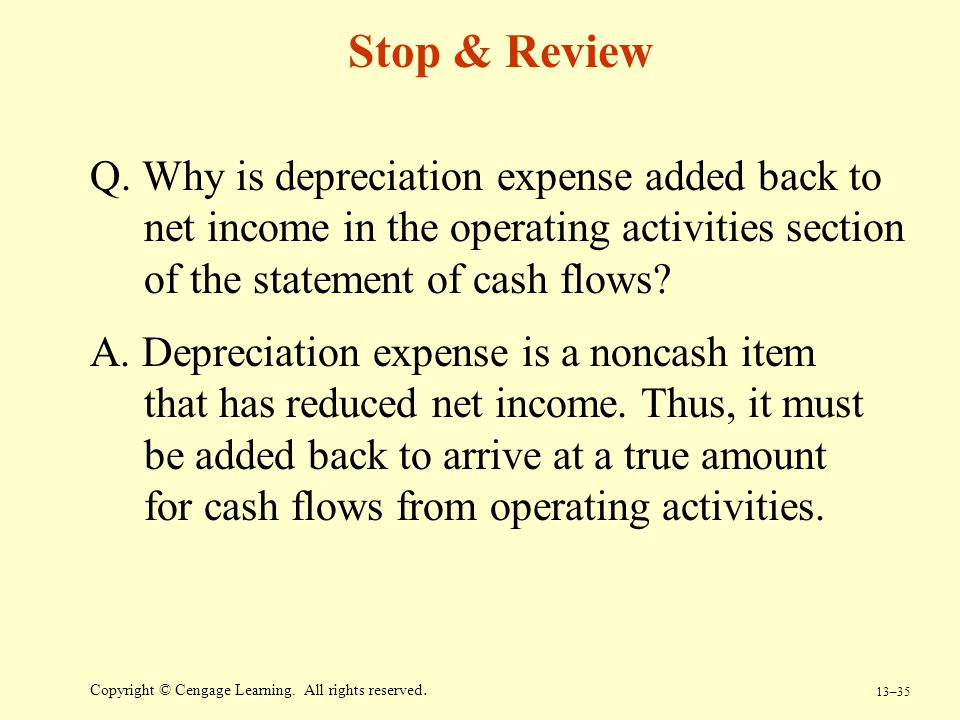 Stop & Review Q. Why is depreciation expense added back to net income in the operating activities section of the statement of cash flows