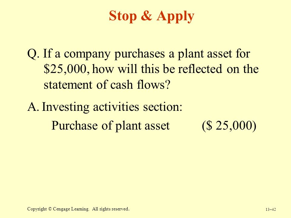 Stop & Apply Q. If a company purchases a plant asset for $25,000, how will this be reflected on the statement of cash flows