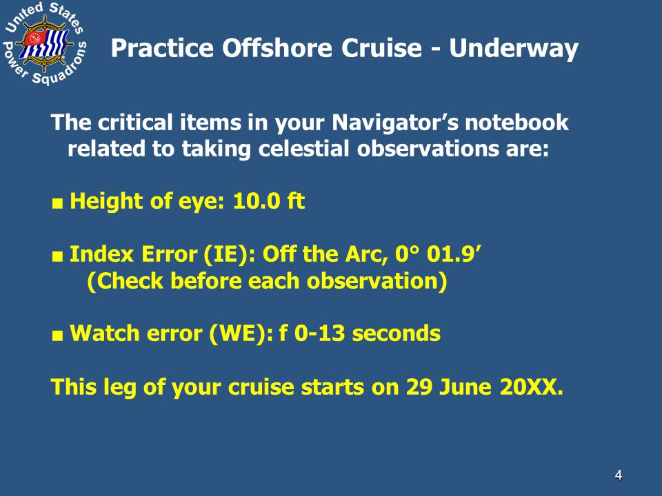 Practice Offshore Cruise - Underway
