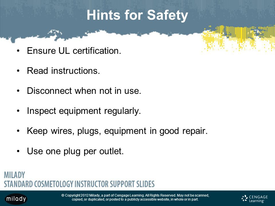 Hints for Safety Ensure UL certification. Read instructions.